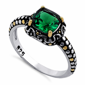 Sterling Silver Celtic Emerald Cushion CZ Ring