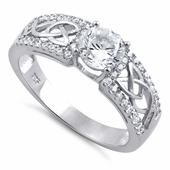 Sterling Silver Celtic Pave Clear Round CZ Ring