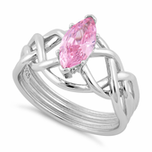 Sterling Silver Celtic Pink Marquise CZ Ring