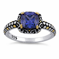Sterling Silver Celtic Tanzanite Cushion CZ Ring