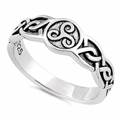 Sterling Silver Celtic Triskelion Ring