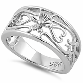 Sterling Silver Center Flower & Curly Hearts Ring
