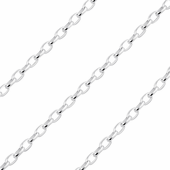 Sterling Silver Chain Bel Ovale Diamant 1.8mm