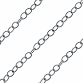 Sterling Silver Chain (Oxidized) Flat Cable 1.3mm (sold by the foot)