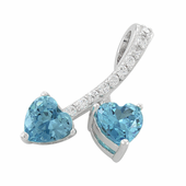 Sterling Silver Cherry Hearts Blue Topaz CZ Pendant