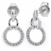 Sterling Silver Circle CZ Dangle Earrings
