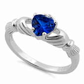 Sterling Silver Claddagh Blue Sapphire CZ Ring