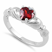 Sterling Silver Claddagh Garnet CZ Ring