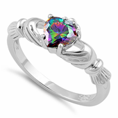 Sterling Silver Claddagh Rainbow CZ Ring