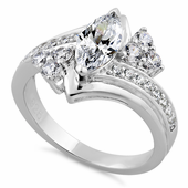 Sterling Silver Classy Marquise CZ Ring