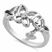 Sterling Silver Clear Butterflies Cut CZ Ring