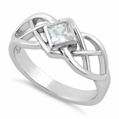 Sterling Silver Clear CZ Celtic Ring