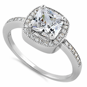 Sterling Silver Clear CZ Cushion Halo Engagement Ring
