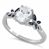 Sterling Silver Clear Double Butterfly Center Stone CZ Ring