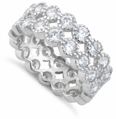 Sterling Silver Clear Double Eternity CZ Ring
