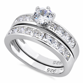 Sterling Silver Clear Engagement Set Ring