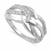 Sterling Silver Clear Free Form Cut CZ Ring