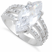 Sterling Silver Clear Marquise CZ Ring
