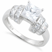 Sterling Silver Clear Princess Cut Engagement CZ Ring
