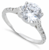 Sterling Silver Clear Round Cut Engagement CZ Ring