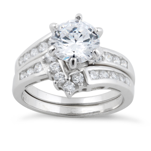 sterling silver clear cut engagement set cz ring