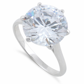 Sterling Silver Clear Solitaire Engagement CZ Ring