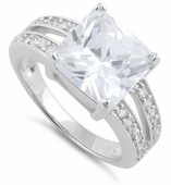 Sterling Silver Clear Square Engagement CZ Ring