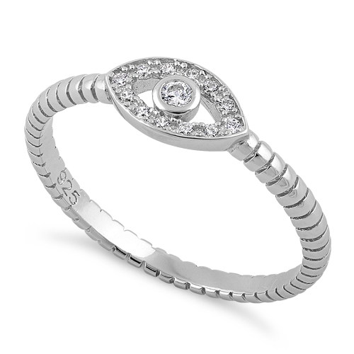 sterling silver clear evil eye cz ring