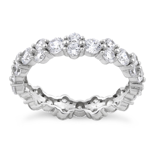 sterling silver cluster eternity cz ring