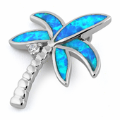Sterling Silver Coconut Tree Blue Lab Opal CZ Pendant