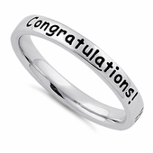 """Sterling Silver """"Congratulations! Wishing you all the best!"""" Ring"""