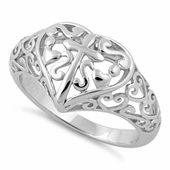 Sterling Silver Cross and Multiple Hearts Ring