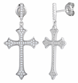 Sterling Silver Cross CZ Dangle Earrings