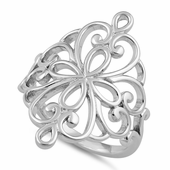Sterling Silver Cross Heart Swirl Ring