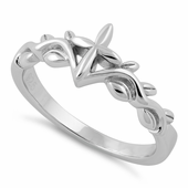 Sterling Silver Cross Leaf Ring
