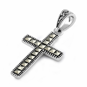 Sterling Silver Cross Marcasite Pendant