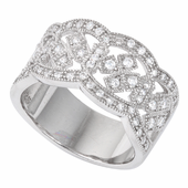 Sterling Silver Cross Pave CZ Ring