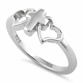 Sterling Silver Cross with 2 Hearts Ring