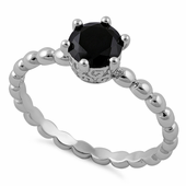 Sterling Silver Crown Beaded Black CZ Ring