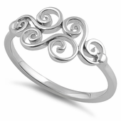 Sterling Silver Curly Waves Ring