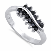 Sterling Silver Curve Black CZ Ring