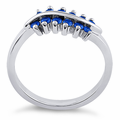 Sterling Silver Curve Blue Sapphire CZ Ring