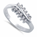 Sterling Silver Curve Clear CZ Ring
