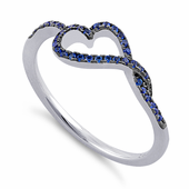 Sterling Silver Curvy Heart Blue CZ Ring