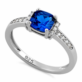 Sterling Silver Cushion Blue Spinel CZ Ring