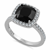 Sterling Silver Cushion Cut Black CZ Ring