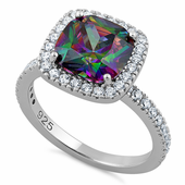 Sterling Silver Cushion Cut Rainbow CZ Ring