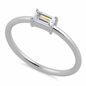 Sterling Silver Dainty Baguette Straight Clear CZ Ring