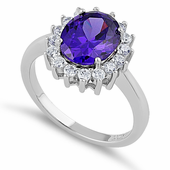 Sterling Silver Dark Violet Oval CZ Ring