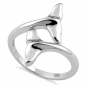 Sterling Silver Dolphin Fins Ring